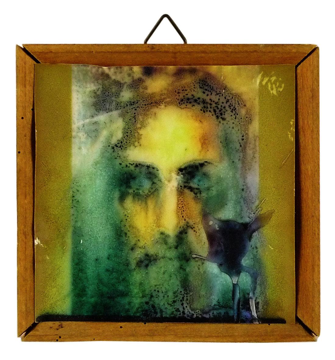 Bild, düsterer Jesus mit Wachspatina