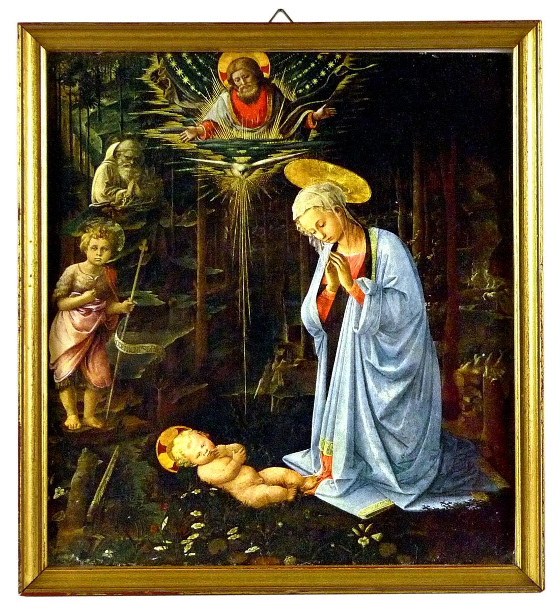 Bild der Jungfrau, die das Jesuskind betrachtet von Lippi