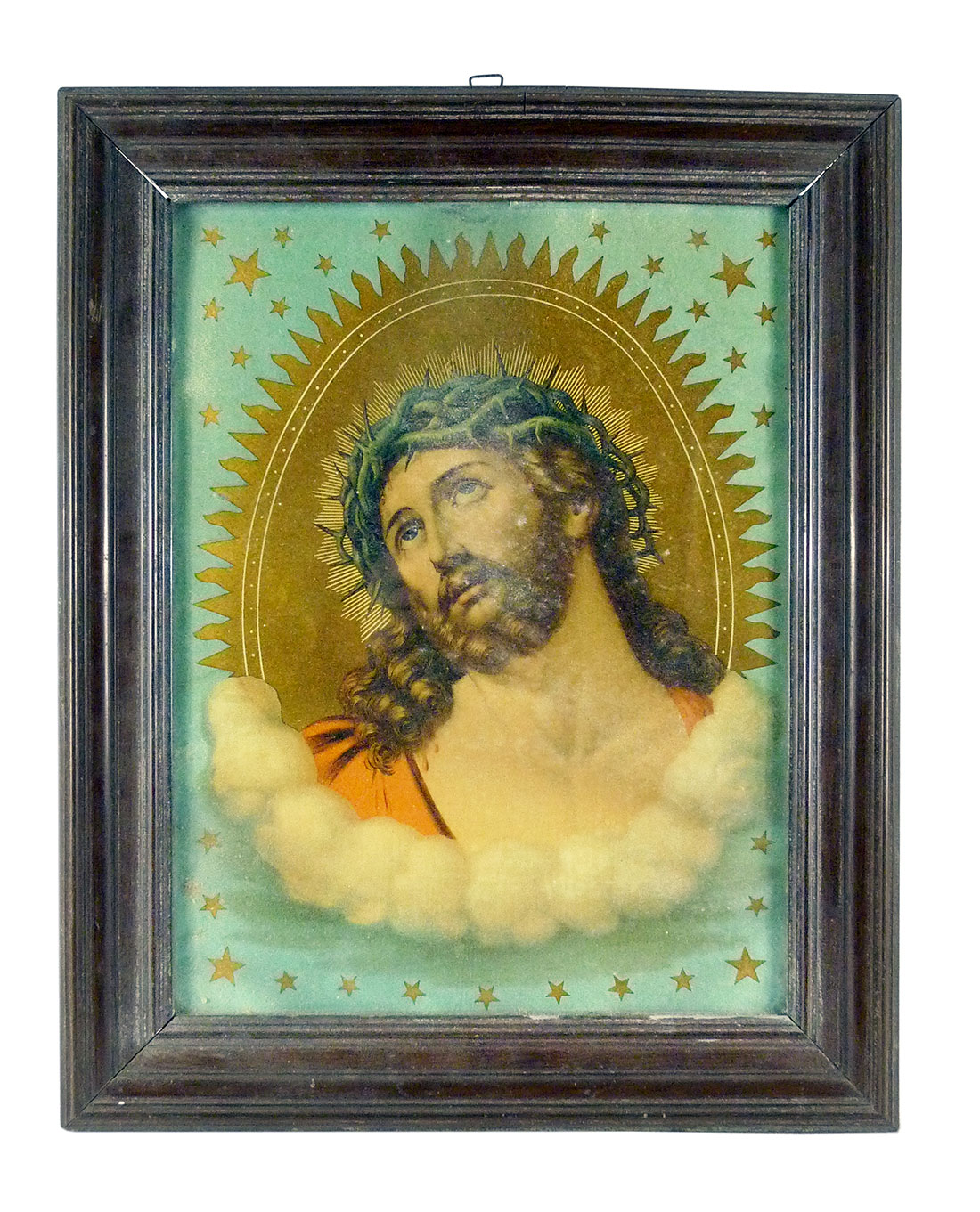 A vintage image of Jesus looking up.