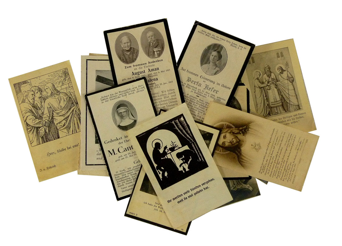 Begräbniskarten aus Mannheim