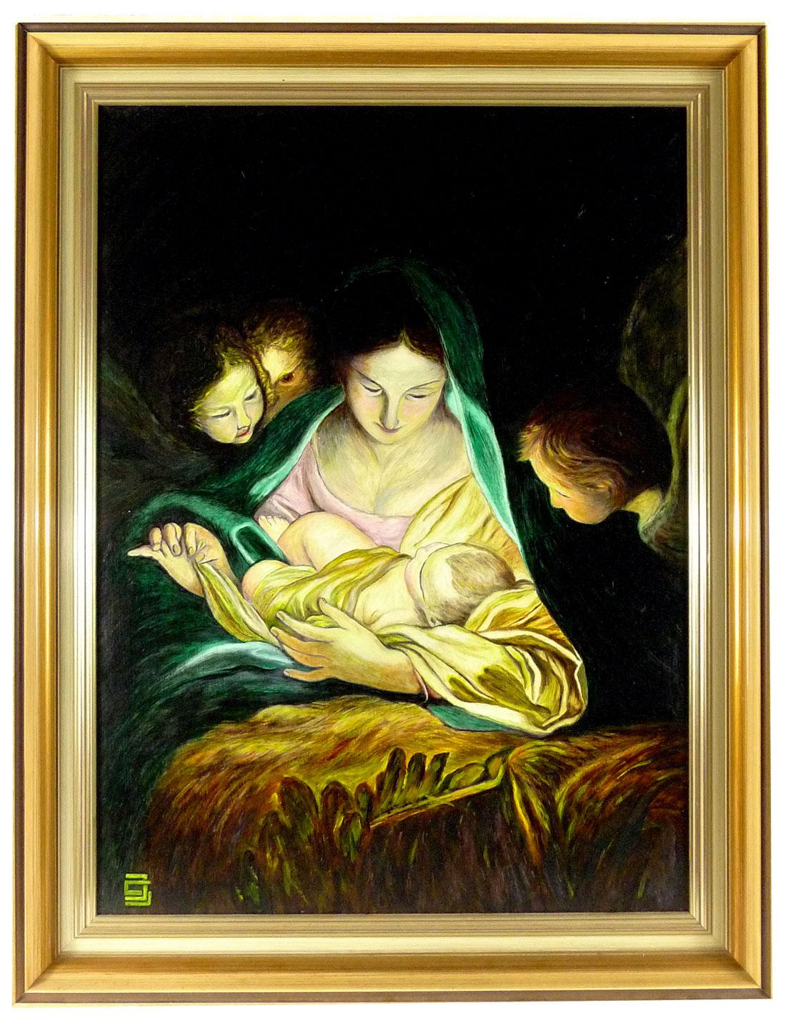 Gemälde, Jesus und MAria mit Engeln in der Krippe